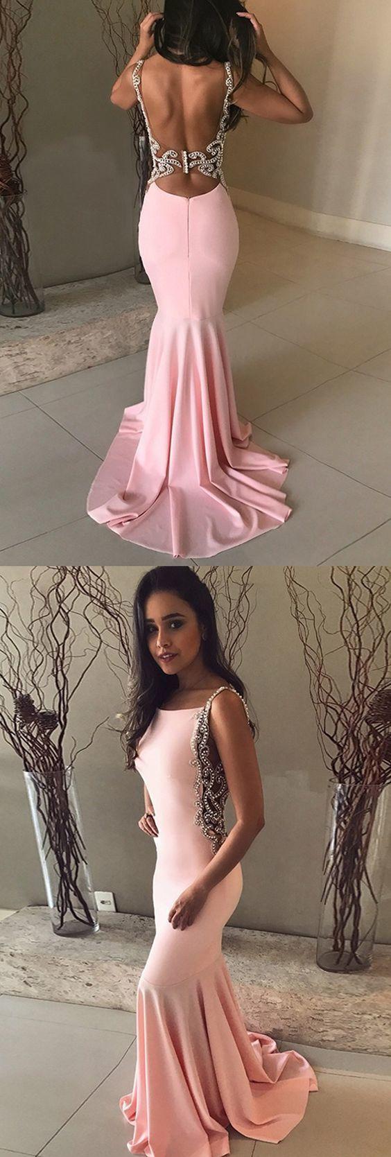 Mermaid Bateau Backless Sweep Train Pink Prom Dress with Beading