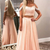 Two Piece Spaghetti Straps Pink Long Prom Dress with Beading Apliques