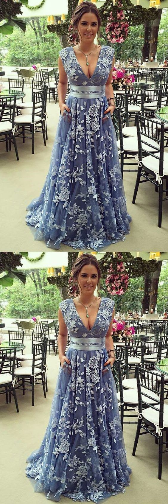Charming blue prom party dress, V neck modest evening gowns, tulle elegant gowns