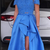 two piece royal blue long prom dress with side slit, off the shoulder long