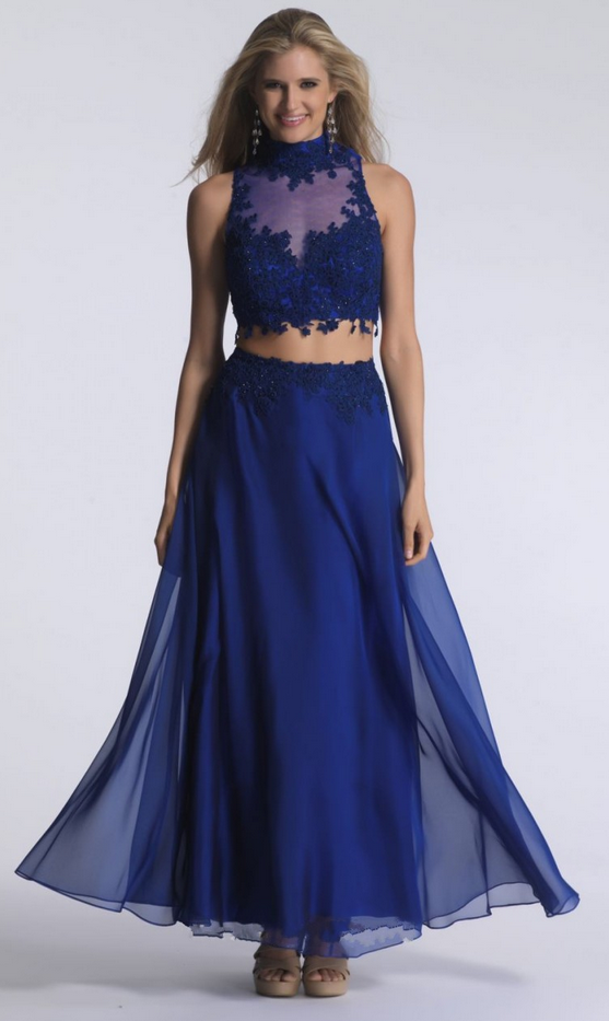Elegant Formal Dresses,High Neck Evening Dresses,Two Pieces Evening Dresses