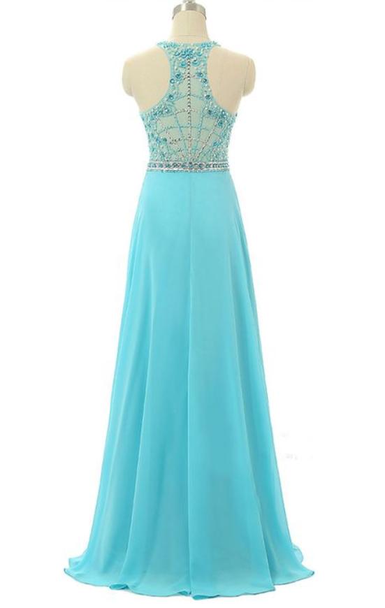 Prom Dresses,Light Blue Prom Dress,Chiffon Prom Gown,Prom Dresses,Evening