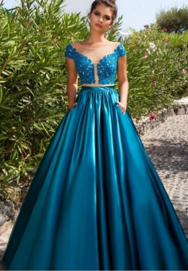 2 Piece Prom Dress, Short Sleeve Prom Dress, Satin by dresses on