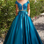 2 Piece Prom Dress, Short Sleeve Prom Dress, Satin Prom Dress, Turquoise Blue
