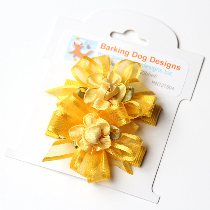 Yellow Floral Hair Bows. Small Hair Clippies With Non Slip Grip. Toddler Baby