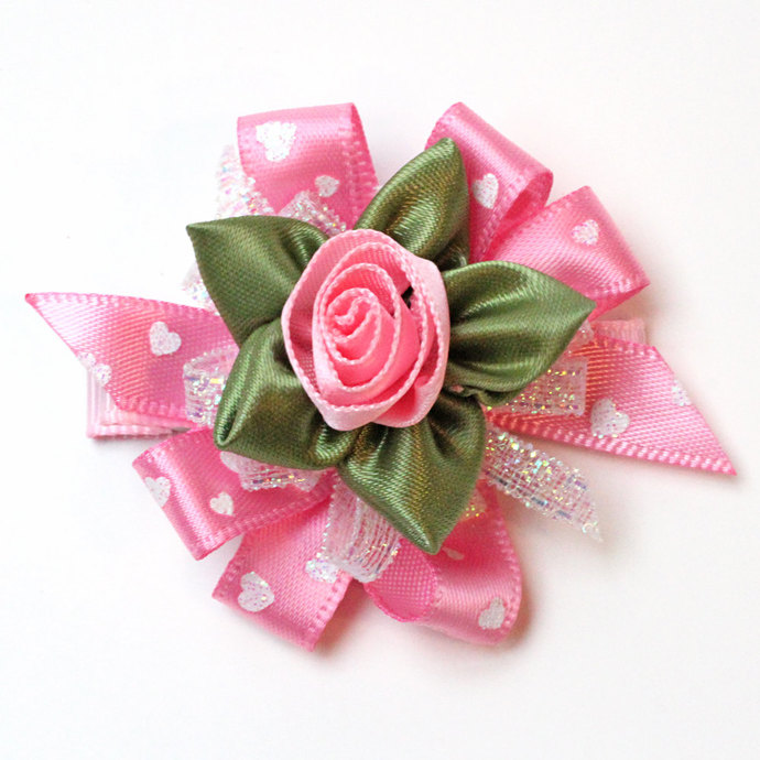 Pink Valentines Day Hair Bows. Girls Fancy Ribbon Rose Hair Clips Set of 2.