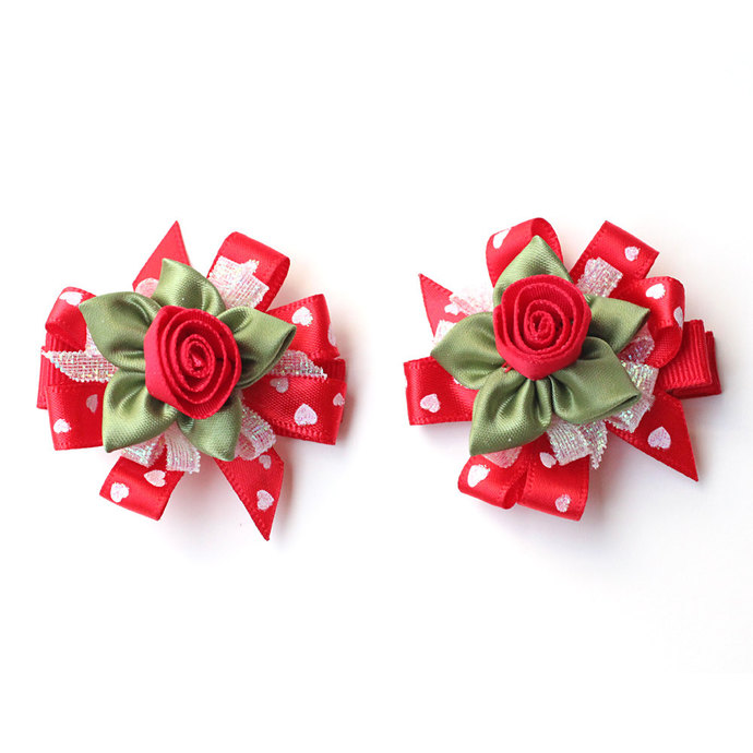 Valentines Day Hair Bows for Baby Girl. Girls Fancy Red Ribbon Rose Hair Clips
