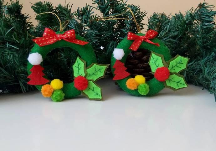 christmas tree decoration set of 2 christmas wreath felt christmas wreath