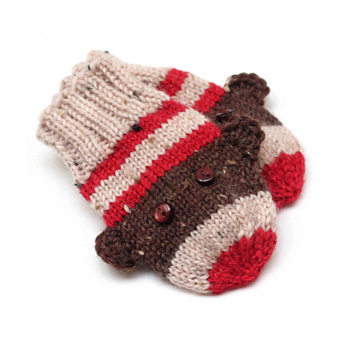 fba89fbbdba Sock Monkey Mittens. Knit Infant Winter Mittens Without Thumbs. Unisex Hand