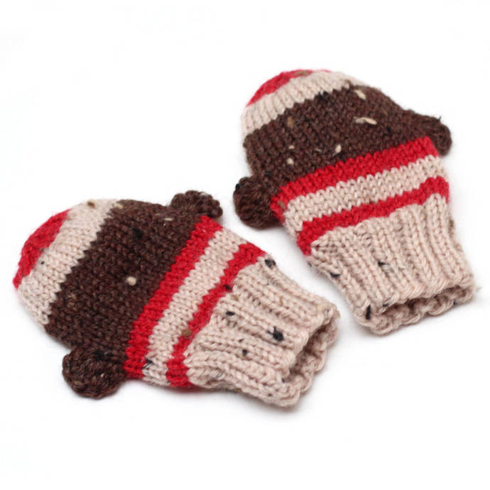 Sock Monkey Mittens. Knit Infant Winter Mittens Without Thumbs. Unisex Hand