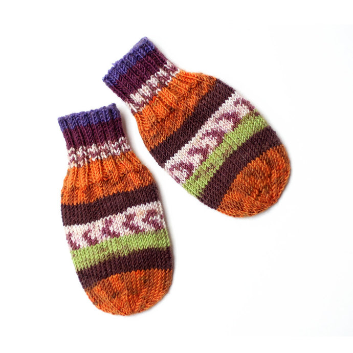 Vegan Wool-Free Acrylic Baby Mittens on String. Hand Knit Thumbless Cordless