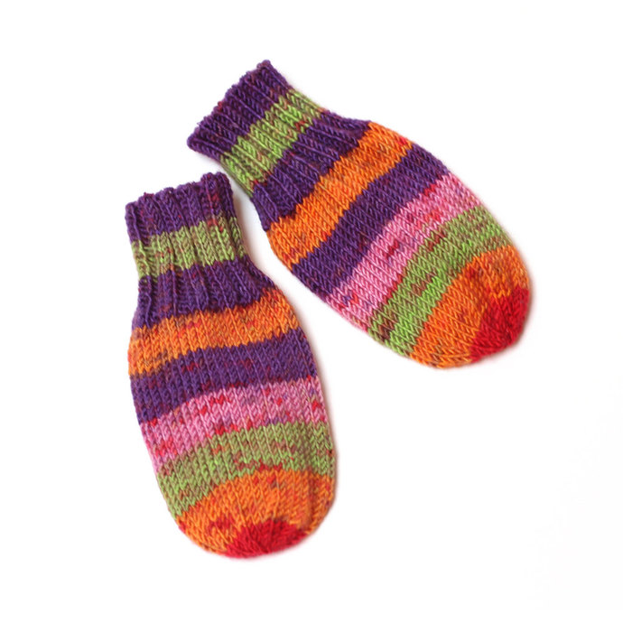Wool-Free Thumbless Striped Baby Mittens. No Thumb, No Cord Knit Baby Mitts.