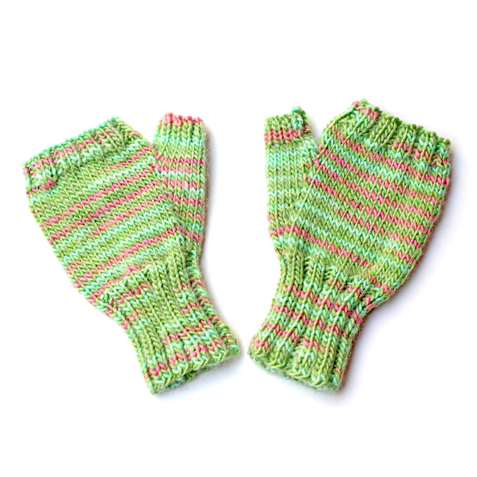 Toddler Girl Green Fingerless Gloves. Hand Warmers. Knit Mittens Without