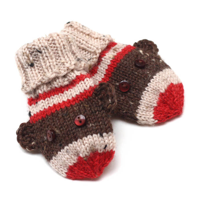 Sock Monkey Baby Mittens. Knit Winter Infant Mittens No Thumbs. Unisex Hand