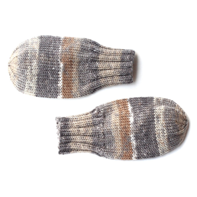 Wool-Free Baby Mittens on String, Tan and Gray