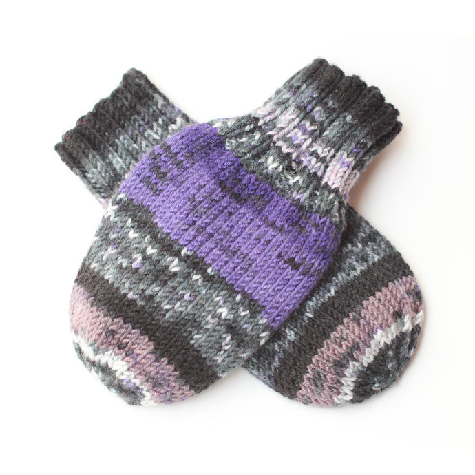 Vegan Wool-Free Acrylic Knit Thumbless Baby Mittens on String. Baby Mitts.