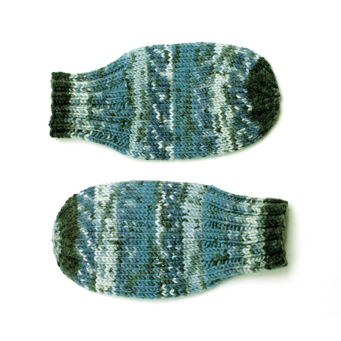 Vegan Thumbless Blue Baby Mittens. Hand Knit No Thumb Cordless Baby Mitts.