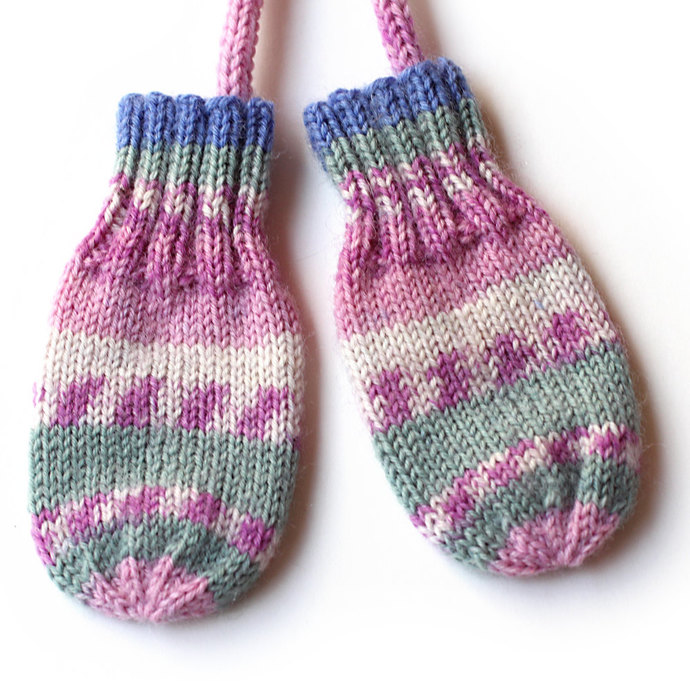 Baby Mittens. Thumbless Mittens On a String. Infant Girl 3 to 6 Months Mini