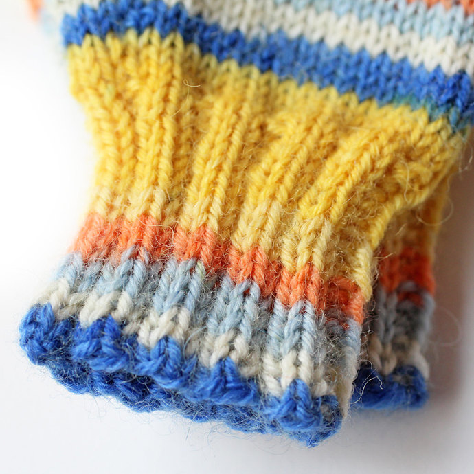 Kids Mittens. 12 to 18 Months. Yellow and Blue Knit Winter Mittens With Thumbs.