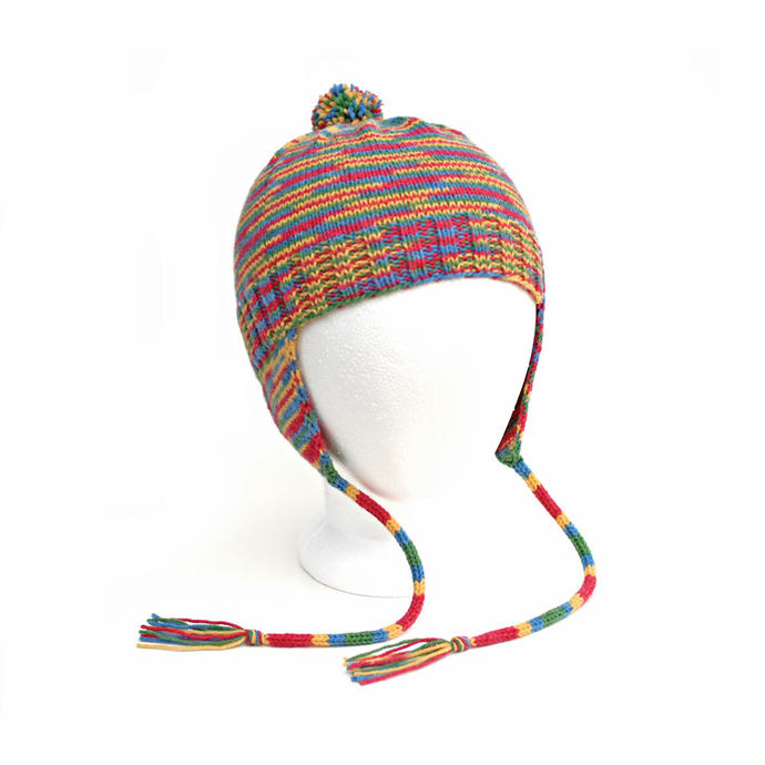 Child's Earflap Hat. Kids Warm Winter Variegated Multicolor Aviator Hat. Wool