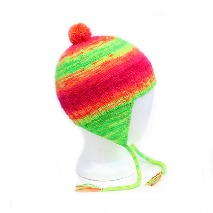 Neon Rainbow Aviator Hat. Fluorescent Ear Flap Hat. 2 to 6 Years. Gender