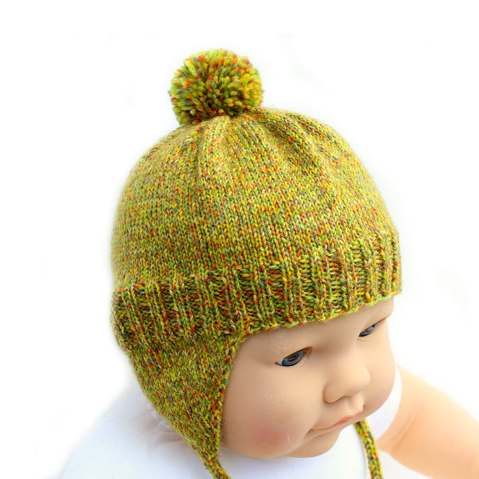 Baby Earflap Hat and Mitten Set. 3 to 9 Months. Gender Neutral. Warm Wool Blend.