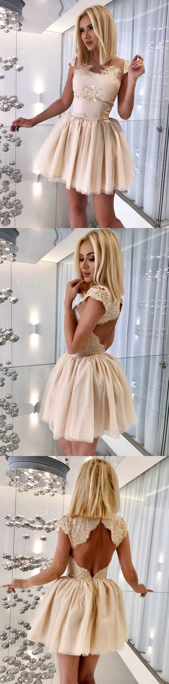 A-Line Jewel Cap Sleeves Open Back Short Champagne Homecoming Dress with