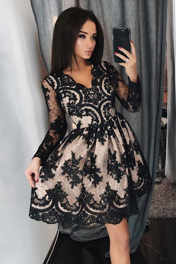 A-Line V-Neck Long Sleeves Above-Knee Black Homecoming Dress with Appliques
