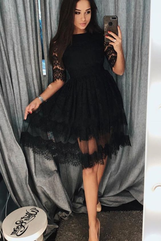 A-Line Crew Half Sleeves Knee-Length Black Homecoming Dress with Lace Party