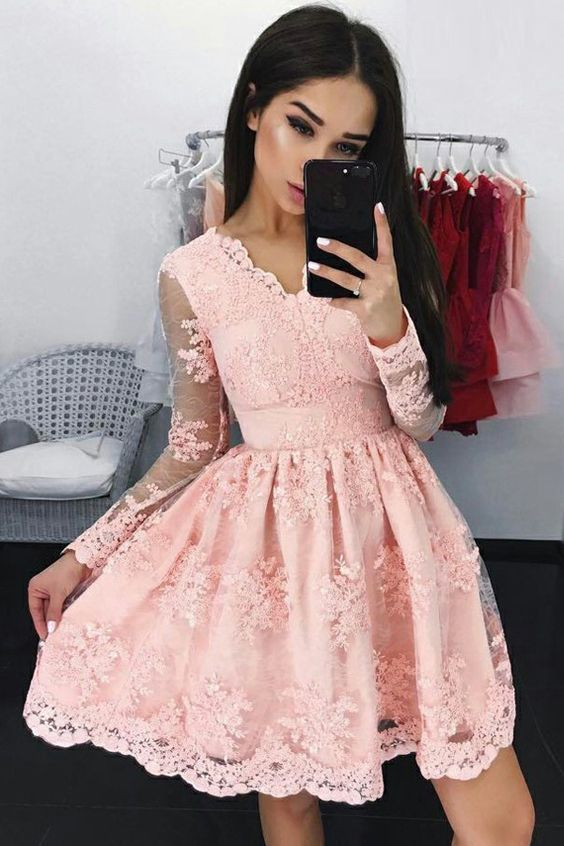 A-Line V-Neck Long Sleeves Short Pink Homecoming Dress with Appliques Party