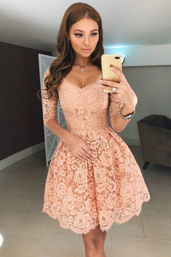 A-Line Scoop Half Sleeves Short Apricot Lace Homecoming Dress Party Dress,L8752