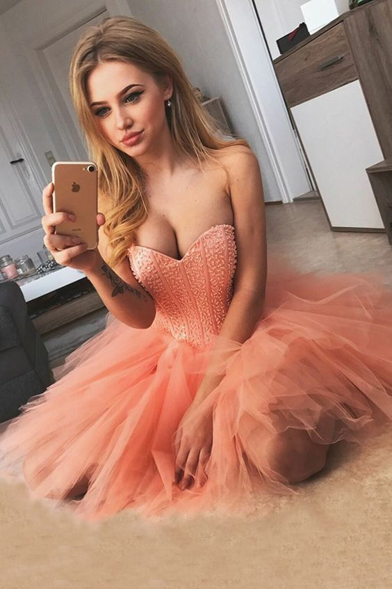 A-Line Sweetheart Short Coral Tulle Homecoming Dress with Beading Party