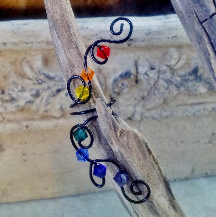 SIDEWALK SALE Rainbow Chakra Crystal Ear Cuff Ear Climber