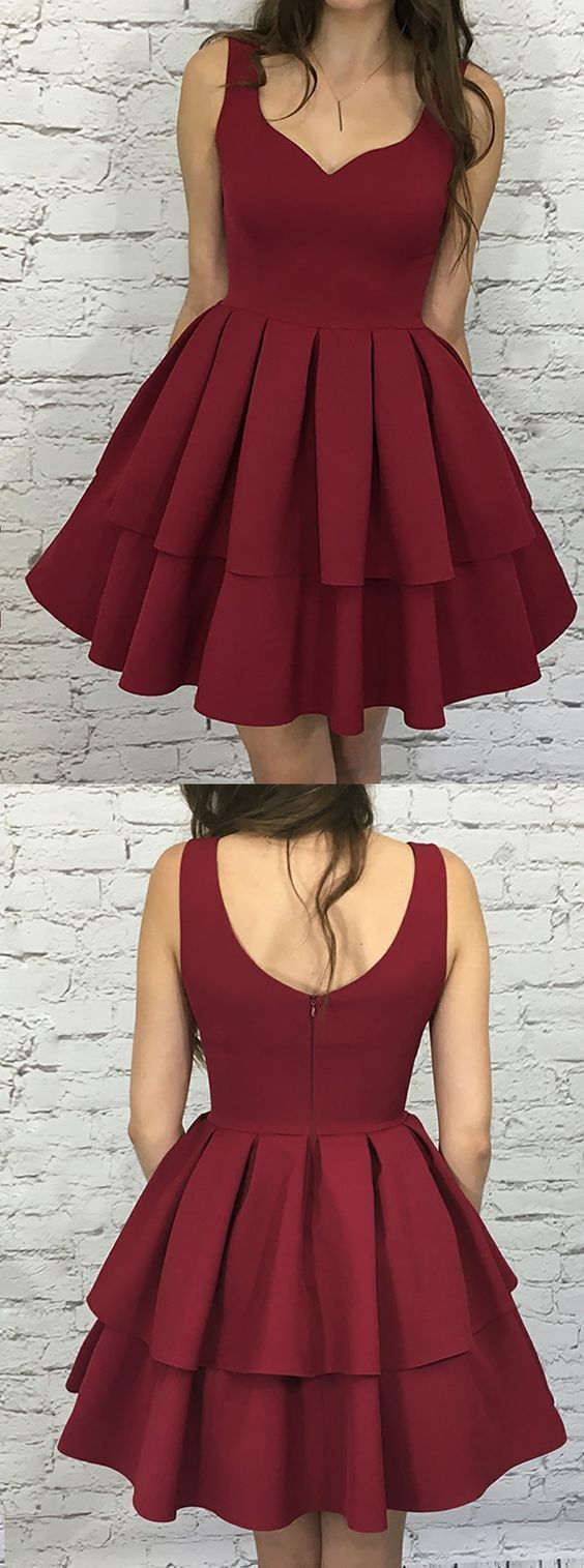 A-Line Scoop Sleeveless Short Burgundy Tiered Homecoming Dress Party Dress,P8532