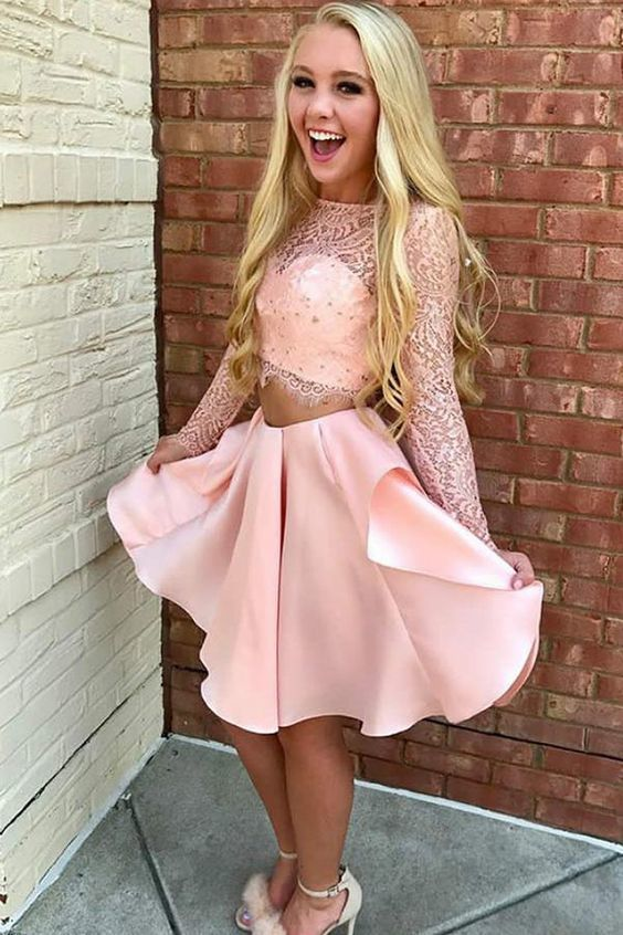 Two Piece Jewel Long Sleeves Short Pink Homecoming Dress with Lace Party