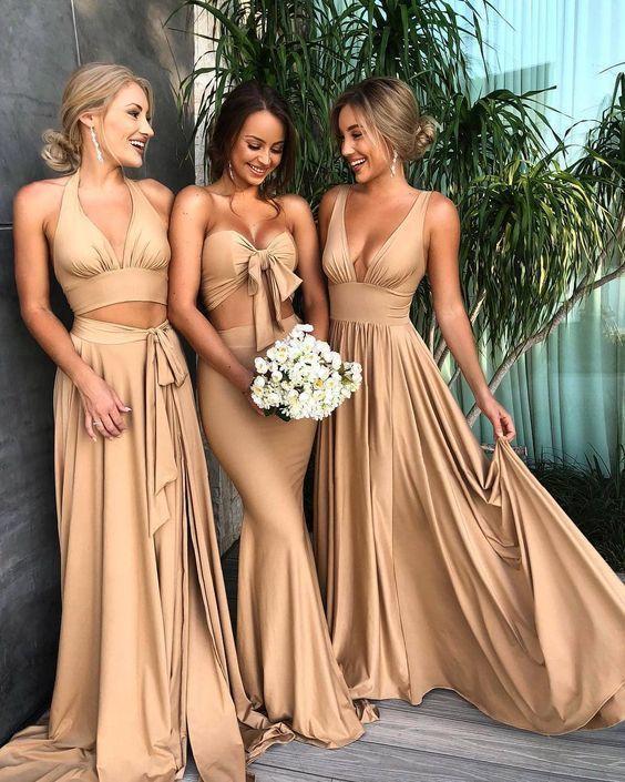 Sexy A-Line Prom Dresses Chiffon Deep V-Neck Floor-Length Golden Cheap Halter