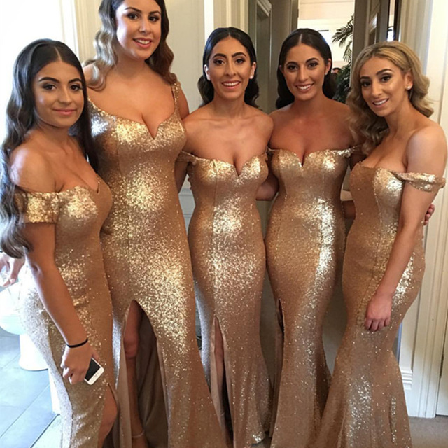 Sexy V-Neck Mermaid Bridesmaid Dress Sequined Floor-Length Golden Cheap B9754