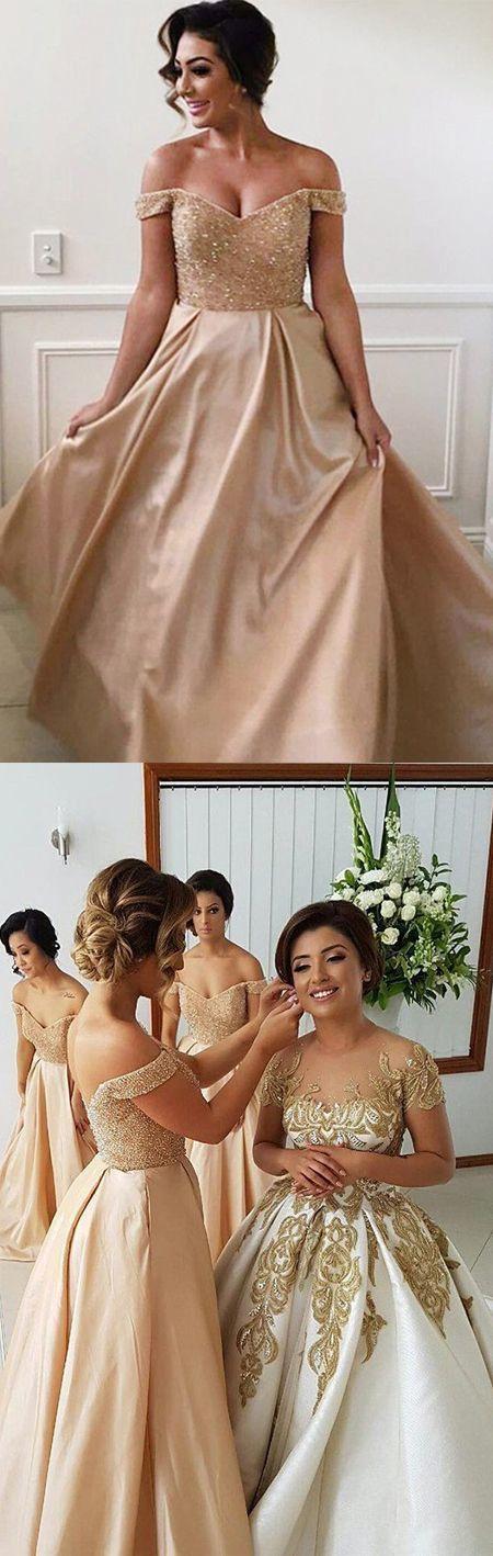 Off-the-Shoulder Champagne Satin Bridesmaid Dress B7653
