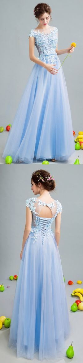 Charming Prom Dress,Tulle Prom Dress,Appliques Pom Dress,A-Line Prom Dress ,