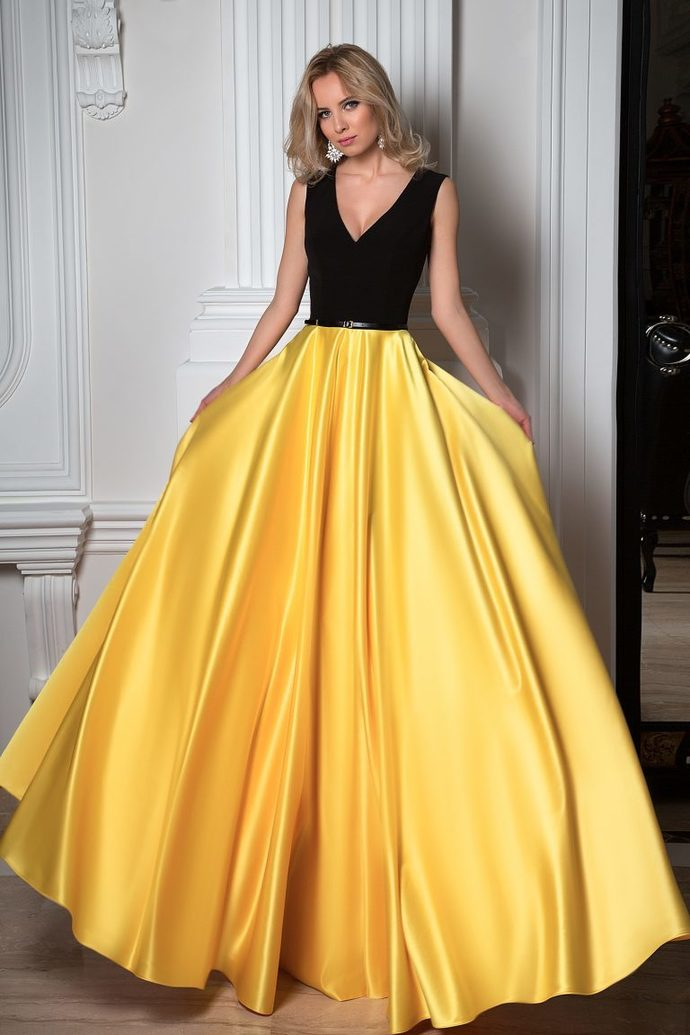 bcc9b4d069 Simple Black And Yellow Charming V-neck Sleeveless Floor Length Prom Dresses