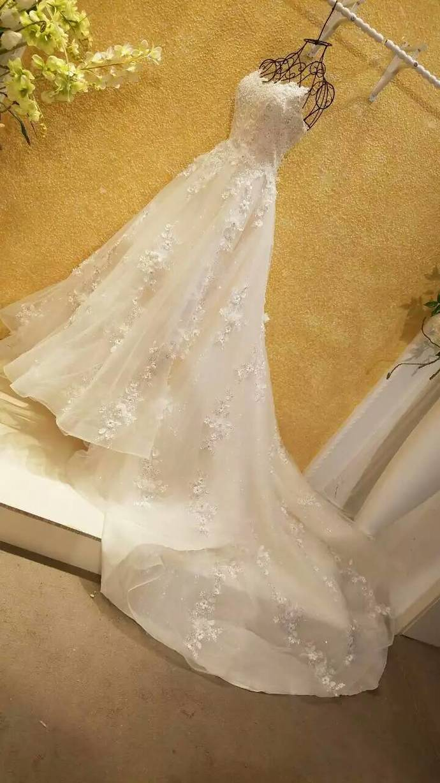 Long Wedding Dress, Backless Wedding Dress, Applique Backless Wedding Dress,