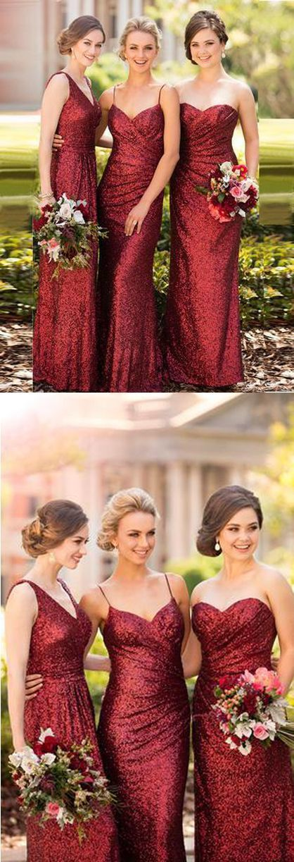 Sparkly Sheath Sleeveless Red Floor-Length Bridesmaid Dress with Sequins B8750
