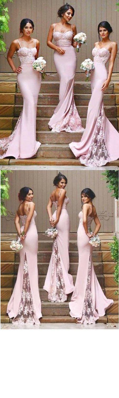 Stylish Mermaid Spaghetti Straps Pink Satin Long Bridesmaid Dress with Appliques