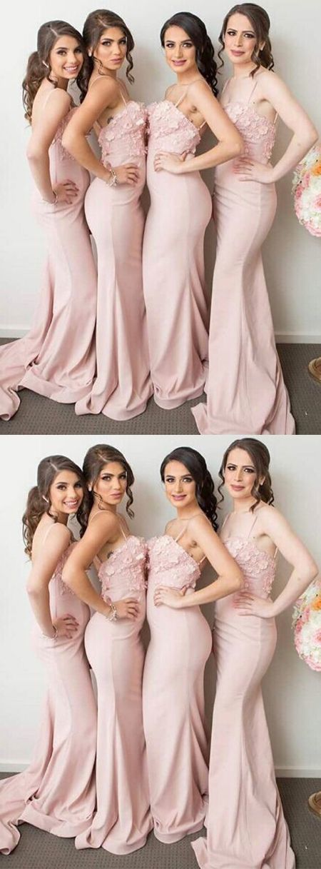 Stylish Mermaid Long Bridesmaid Dress with Appliques Long Prom Dress G9542