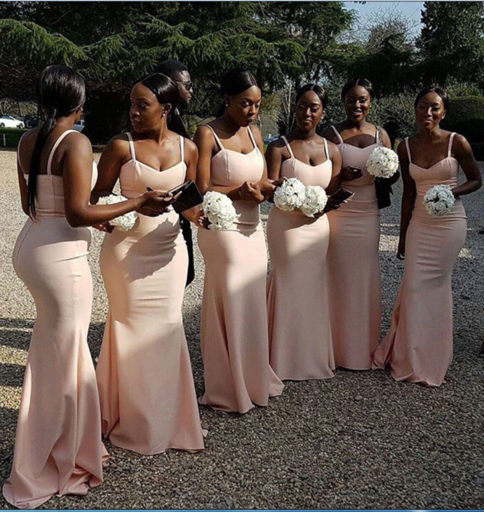 42bcc4af46f Mermaid Bridesmaid Dresses Spaghetti Straps Sleeveless Sweetheart Court  Train