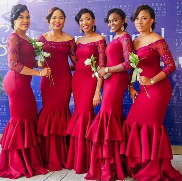 Nigeria Dark Red Mermaid Bridesmaid Dresses Beaded Sheer Long Sleeve Tiered Maid Of Honor Gowns Plus Size Ruffles Wedding Guest Dresses