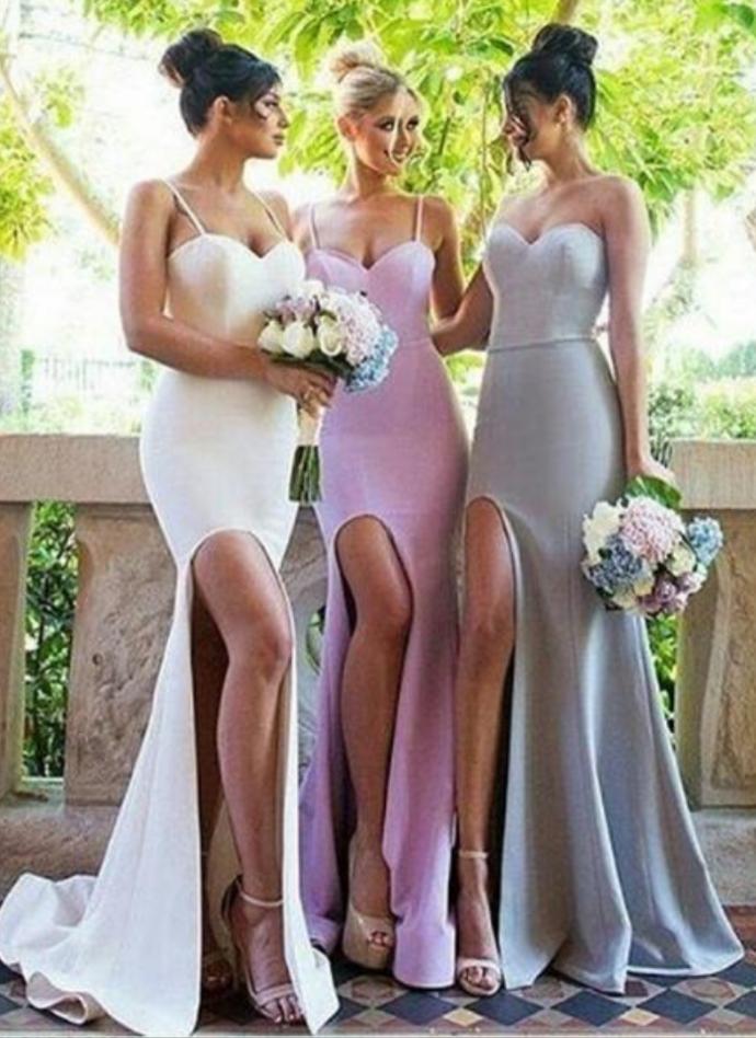 Sexy Bridesmaid Dress Mermaid Spaghetti Straps Bridesmaid Dresses Satin Bridsmaid Dress Long Bridesaid Dresses