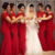 Red Long Bridesmaid dresses short sleeves Scoop Cheap Lace Maid of honor dress