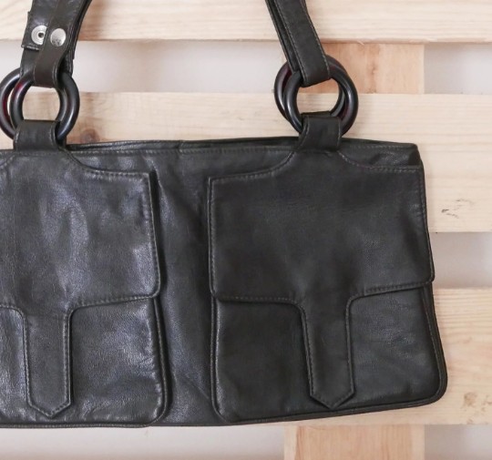 Vintage bag pockets with handles in brown leather, lined inside with