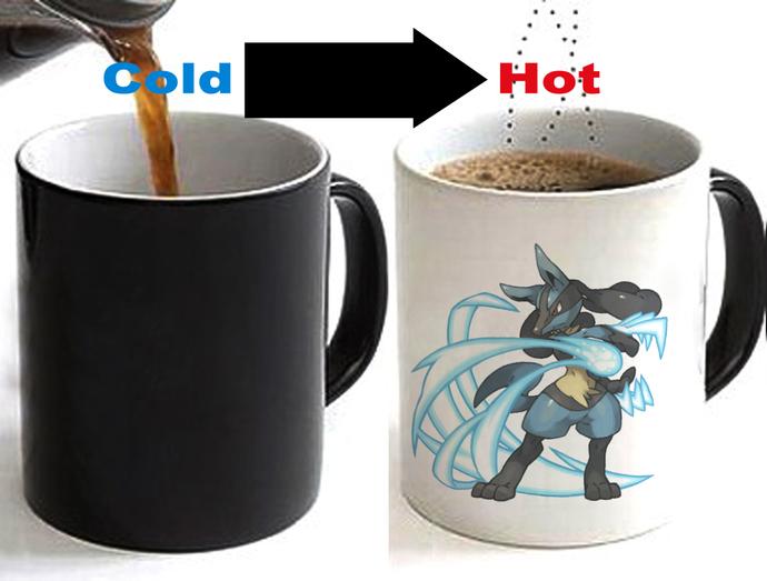 POKEMON  LUCARIO Color Changing Ceramic Coffee Mug CUP 11oz